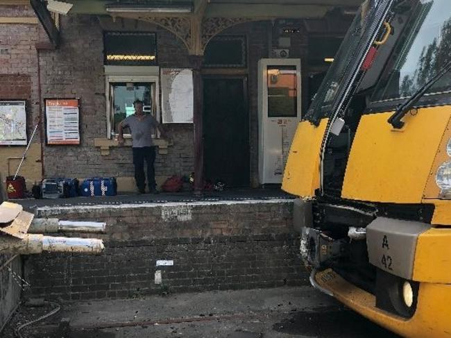 The front of the stricken train. Picture: Seven News