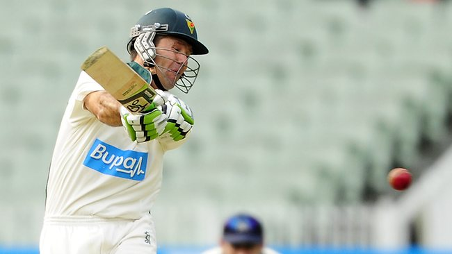 Ricky Ponting cracks a boundary during his unbeaten innings of 89 for Tasmania on day one of the Sheffield Shield match against Victoria at the MCG. Picture: Stuart Walmsley