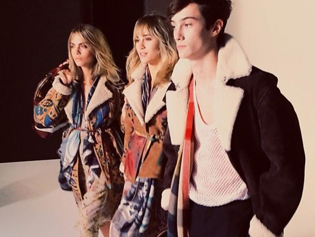 Cara Delevingne and Suki Waterhouse behind the scenes for the Burberry Autumn/Winter 2014 Campaign Picture: Burberry/Instagram