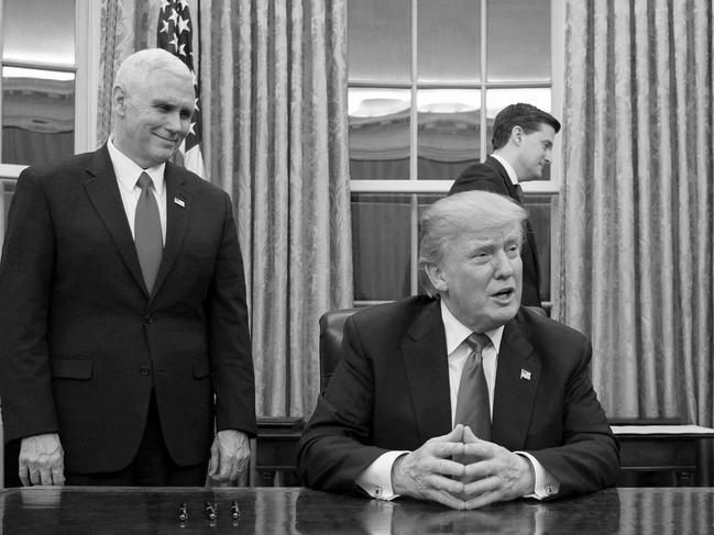 US President Donald Trump with Vice-President Mike Pence in the Oval Office. Picture: AFP