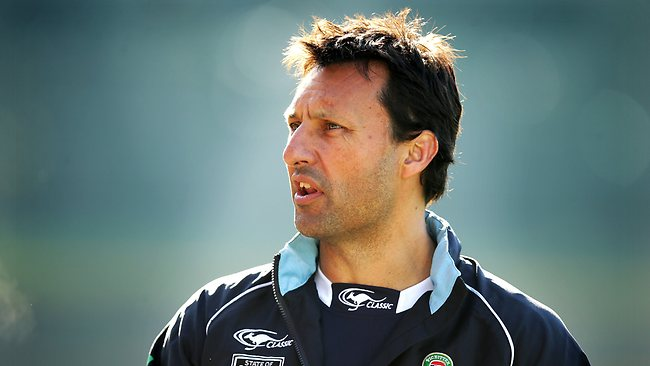 Laurie Daley looks on at Blues training at Leichhardt Oval. Picture: Gregg Porteous