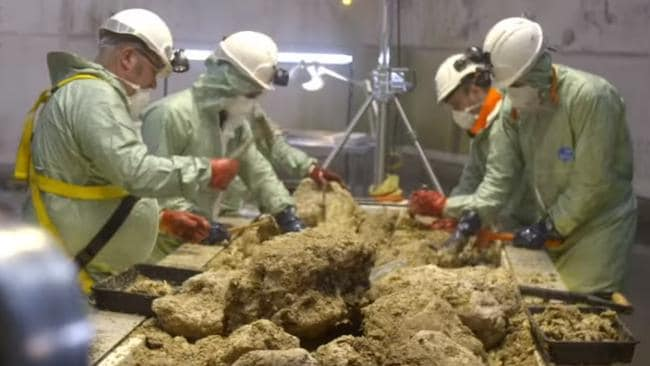 Scientists inspect the contents of a fatberg in Fatberg Autopsy: Secrets Of The Sewers.
