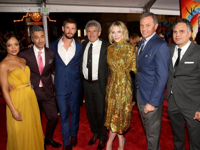 "(L-R) Actor Tessa Thompson, Director Taika Waititi, Actor Chris Hemsworth, Chairman of The Walt Disney Studios Alan Horn, Cate Blanchett, The Walt Disney Company CEO Bob Iger and Mark Ruffalo at The World Premiere of Marvel Studios' ""Thor: Ragnarok"". Picture: Jesse Grant/Getty Images for Disney"