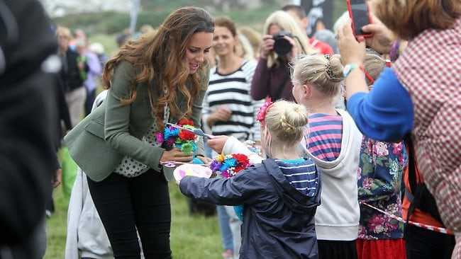 Catherine, the Duchess of Cambridge has made a surprise appearance at an Anglesey Coastal Ultra Marathon, in her first public appearance since leaving hospital with Prince George. Picture: Getty