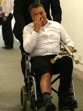 Jamie Briggs leaving the Liberal Party Room meeting the day after Tony Abbott lost the prime ministership.