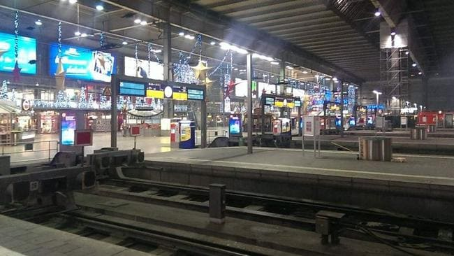 The Hauptbahnhof train station has been emptied.