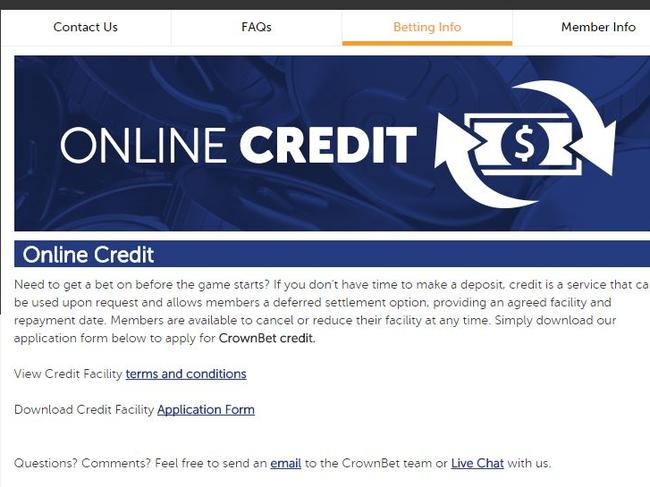 Crownbet, a joint venture between BetEasy and Crown Resorts, advertises credit on its website.