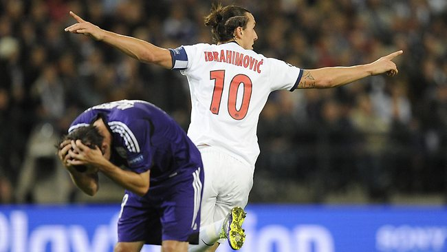 Paris Saint-Germain's Swedish forward Zlatan Ibrahimovic scored four goals in Belgium.