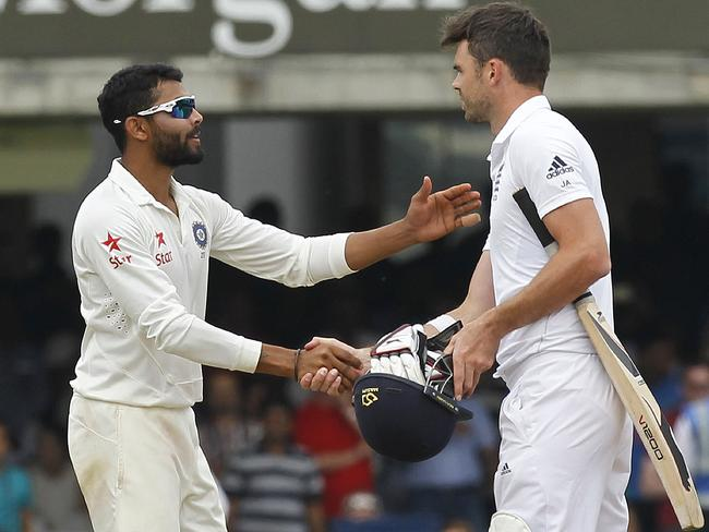 Ravindra Jadeja runs out James Anderson and then shakes hands with him at the match's completion.