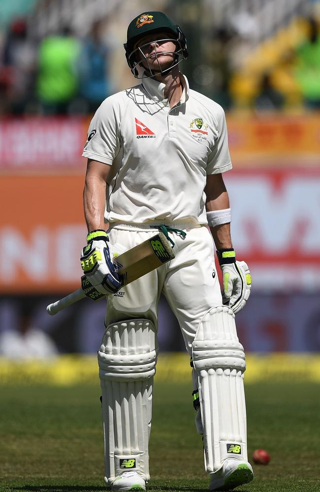 Steve Smith is disconsolate after chopping a bowl onto his stumps. Picture: AFP