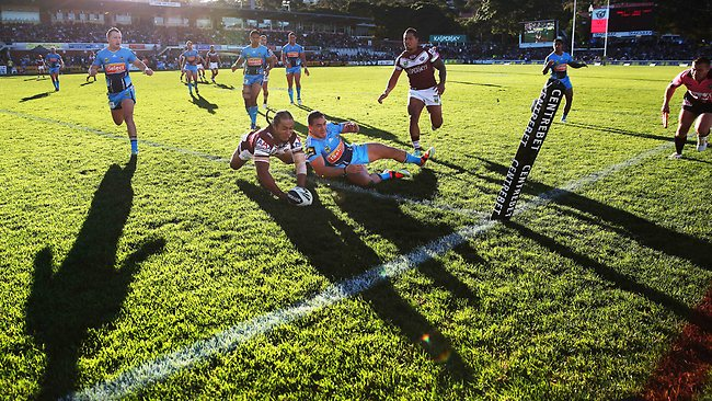 Manly's Steve Matai scores in the corner on a Sunday afternoon at Brookvale. Picture: Philip Hillyard