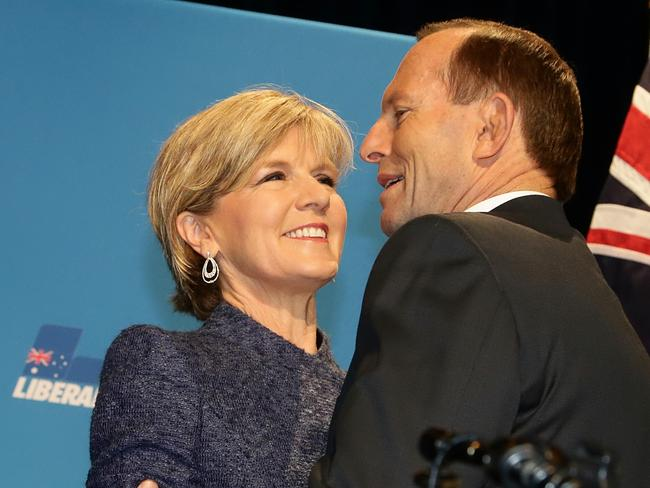 Unpopular: But at least Julie Bishop and Tony Abbott still have each other. Picture: Hamish Blair