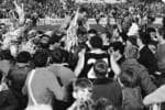 Footballer captain-coach Neil Kerley is swamped by supporters as he is chaired off the ground by teammates after South Adelaide won the SANFL grand final.