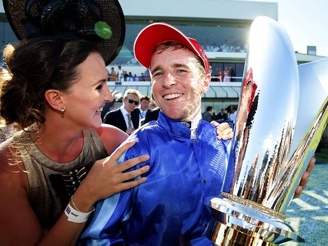 Whitney congratulates Nathan after his win in the Magic Millions. Picture: Adam Head