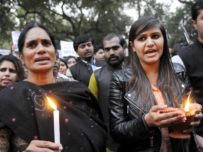 Women protest against the levels of violence taking place across India.