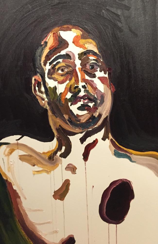 Haunting image ... a self portrait by Myuran Sukumaran's he painted the day he was given 72 hours notice of his execution.