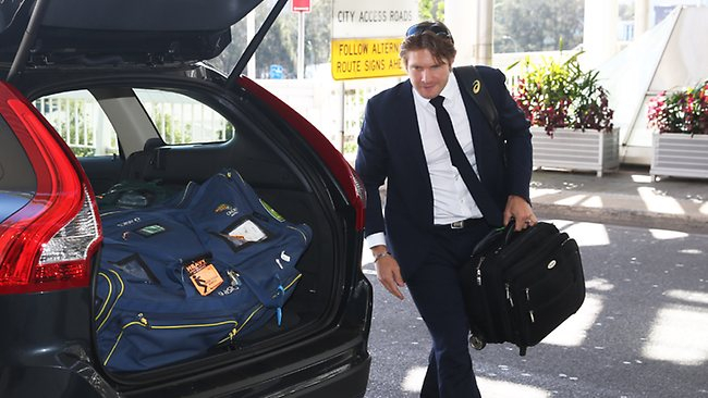 Shane Watson arrives at Sydney Airport. Picture: Phil Hillyard