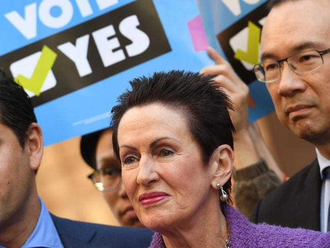 City of Sydney Lord Mayor Clover Moore has launched an official campaign encouraging residents to vote yes. Picture: AFP PHOTO / William WEST