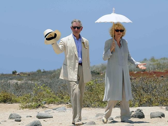Britain's Prince Charles walks with his wife Camilla Parker Bowles, Duchess of Cornwall, during a visit to Seymour island in 2009. The British royals are in a three-day visit to the Ecuadorean Galapagos Island. Picture: AFP
