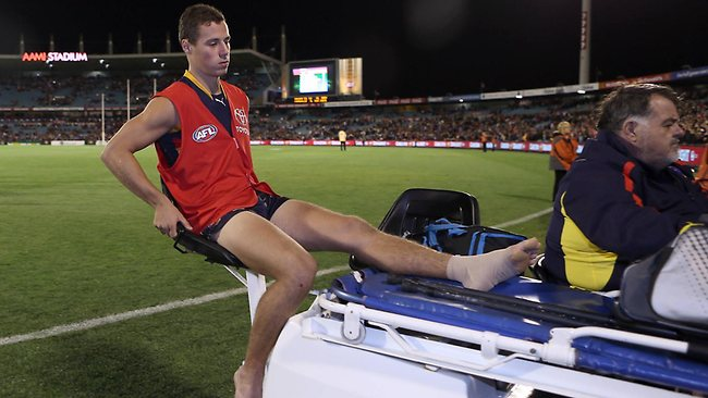 AFL round 1 - Adelaide Crows v Essendon Bombers at AAMI Stadium - LUke Brown Taken off at the end of the game Picture: Sarah Reed