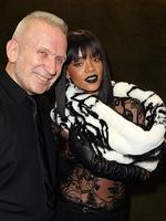 PARIS FASHION WEEK 2014: Designer Jean paul Gaultier and Rihanna pose after the Jean Paul Gaultier show. Picture: Getty