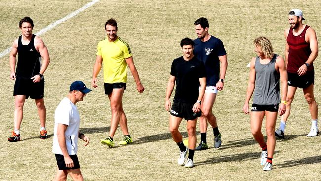 Jobe Watson and fellow banned Bombers train at St Bernard's College. Picture: Nicole Garmston