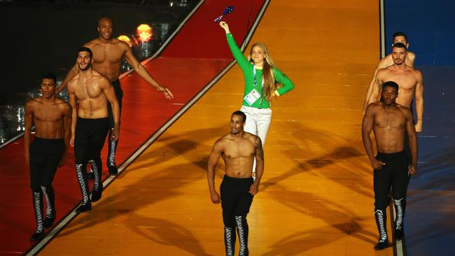 Genevieve LaCaze of Australia on stage during the closing ceremony. Pictures: Getty Images