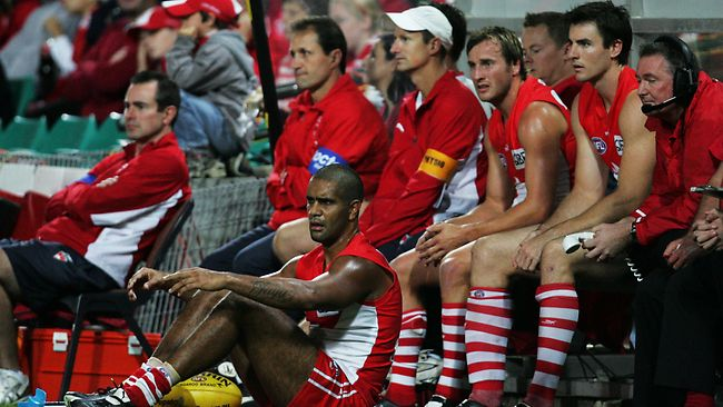 The Sydney Swans bench looks on during an AFL match against Melbourne. Picture: Phil Hillyard