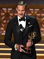 Alexander Skarsgard accepts Outstanding Supporting Actor in a Limited Series or Movie for 'Big Little Lies' onstage during the 69th Annual Primetime Emmy Awards at Microsoft Theater on September 17, 2017 in Los Angeles, California. Picture: Getty