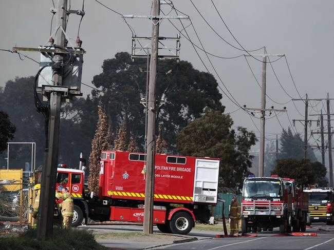More fire crews arrive to fight the blaze. Picture: AAP