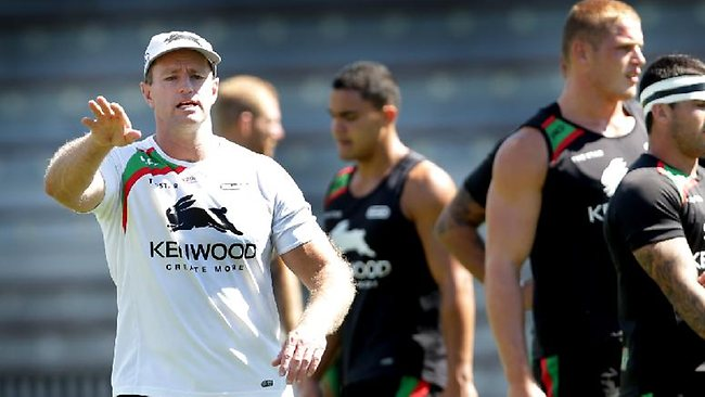 Coach Michael Maguire has ensured no Souths player is complacent. Picture: Gregg Porteous
