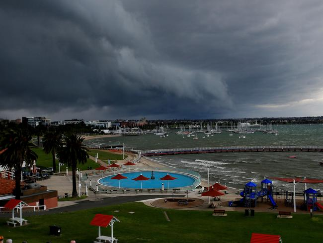 The storm front moves through Eastern Park in Geelong. Picture: Colleen Petch