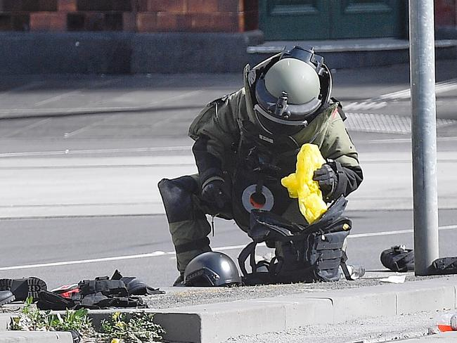 Police and the bomb squad were called to Melbourne's CBD after the incident on September 30, 2017. Picture: Jason Edwards