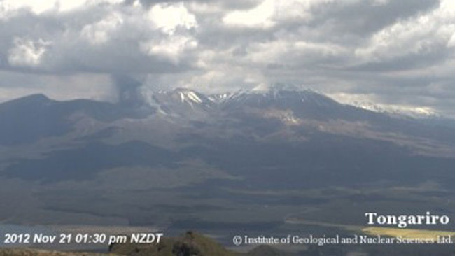 Tongariro at 1.30pm, just before the eruption. Picture: GNS Science