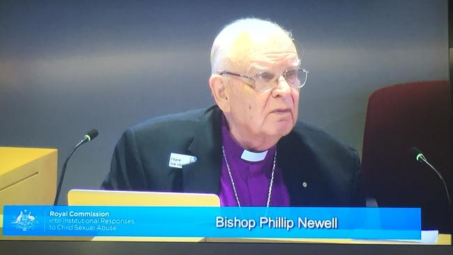 Retired Anglican Bishop Phillip Newell giving evidence before the Royal Commission into Institutional Responses to Child Sexual Abuse hearing held in Hobart.
