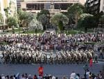 Large crowds around Anzac Square watching the Anzac Day parade, Brisbane. Picture: Liam Kidston