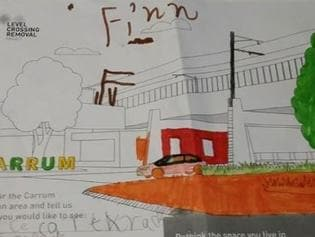 Children were asked to colour-in the new design for the Carrum Railway Station after the level crossing removal.