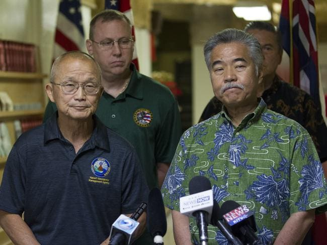 HEMA boss Vern Miyagi and Hawaii Gov. David Ige explain what went wrong. Picture: George F. Lee /The Star-Advertiser/AP