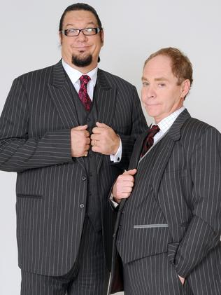 Penn Jillette (l) with his comedy partner, Teller.