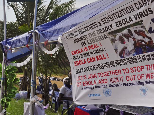 Public information ... an Ebola awareness campaign roadside information post in Monrovia, Liberia. Picture: Abbas Dulleh