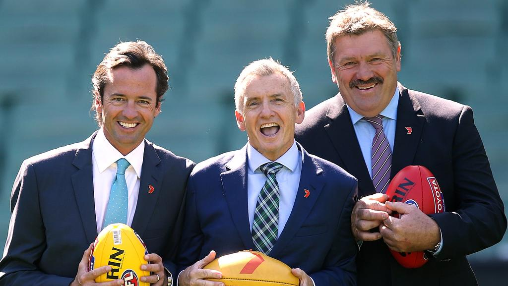 Channel 7 commentators Hamish McLachlan, Bruce McAvaney and Brian Taylor. Picture: Wayne Ludbey
