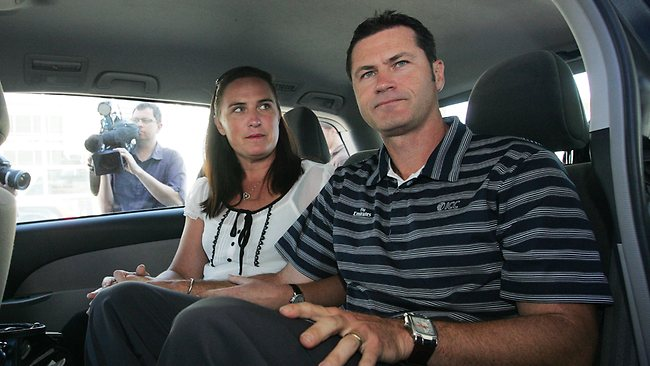 Simon Taufel with his wife Helen after returning to Australia following the terror attacks in 2008. Picture: Carlos Furtado