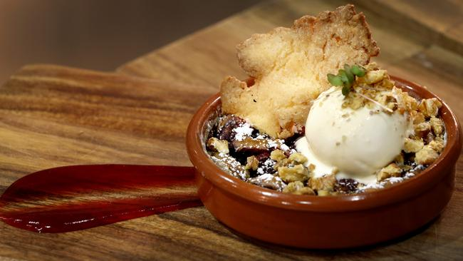 Dessert: Slowly baked cherry clafoutis, vanilla bean ice cream. Chef and owner: Antoine Moscovitz Picture Luke Fuda