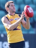 West Coast Eagles Darren Glass training at Aurora Stadium before his game against Hawthorn