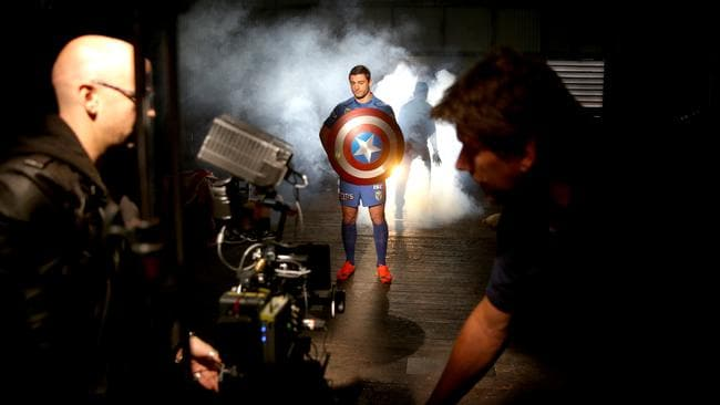Anthony Minichiello has his shield at the ready for filming. Picture Gregg Porteous