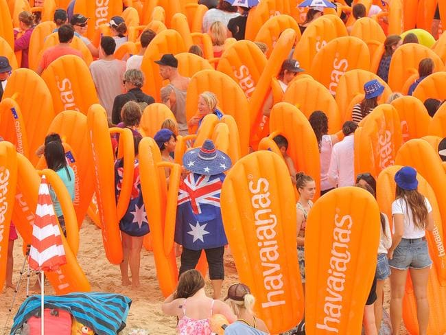The Australia Day thong challenge at Bondi Beach. Source: Klick Communications.