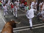 Miura fighting bulls run after revellers during the running of the bulls at the San Fermin festival, in Pamplona, Spain, Monday, July 14, 2014. Revelers from around the world arrive in Pamplona every year to take part in some of the eight days of the running of the bulls. (AP Photo/Andres Kudacki)