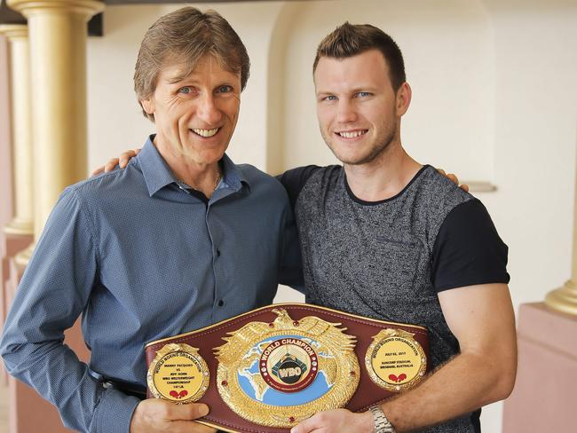 Glenn Rushton and Jeff Horn. Picture: Mark Cranitch.