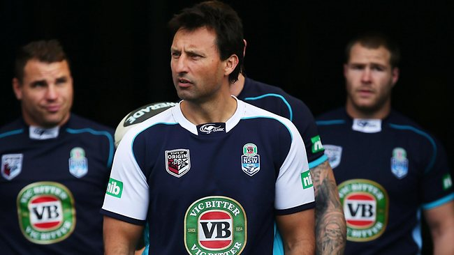 Blues coach Laurie Daley leads the team out during an Origin training session at ANZ Stadium on game three eve.