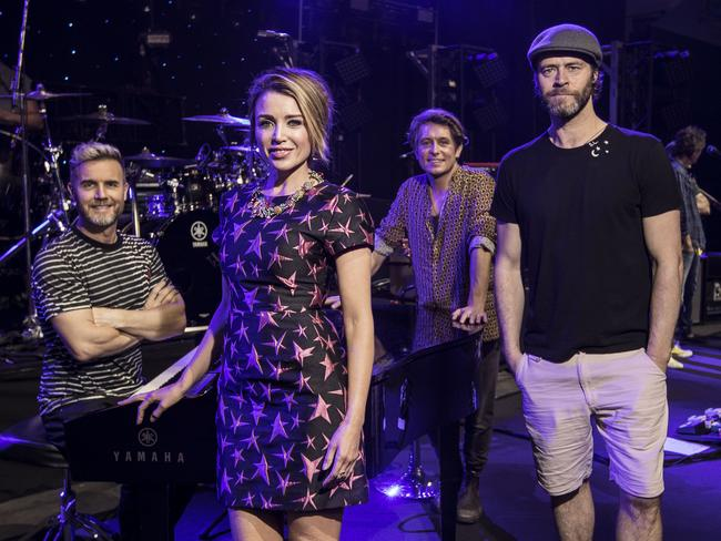 Take That and Dannii Minogue are touring buddies down under. Photo by Michael Wilson, The West Australian.